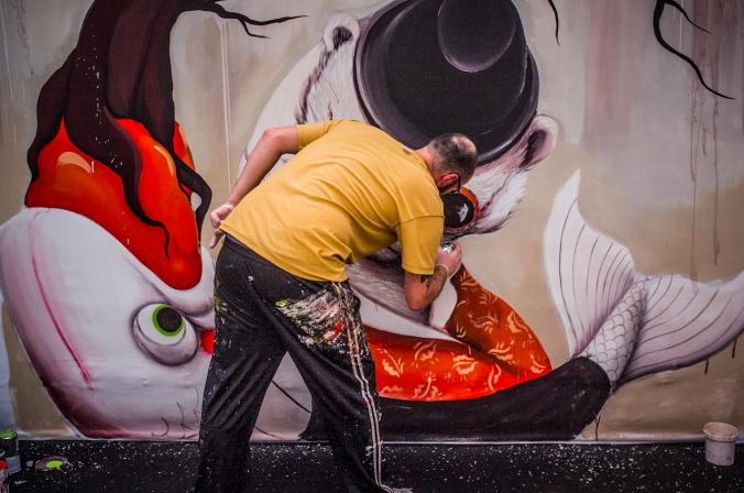 An artist creating